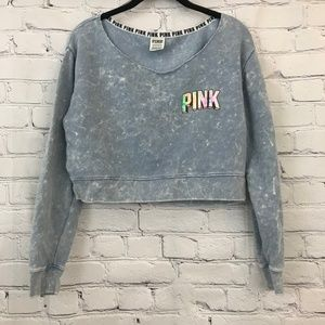 Pink Cropped acid wash sweatshirt